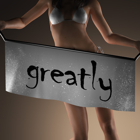 greatly: greatly word on banner and bikiny woman