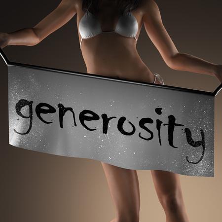generosity: generosity word on banner and bikiny woman