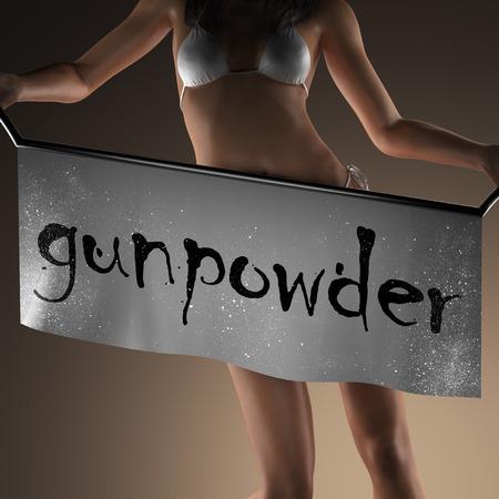 gunpowder: gunpowder word on banner and bikiny woman Stock Photo