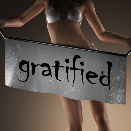 gratified: gratified word on banner and bikiny woman