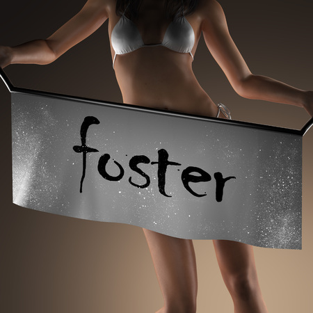 foster: foster word on banner and bikiny woman