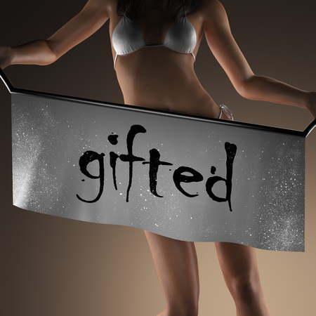 gifted: gifted word on banner and bikiny woman