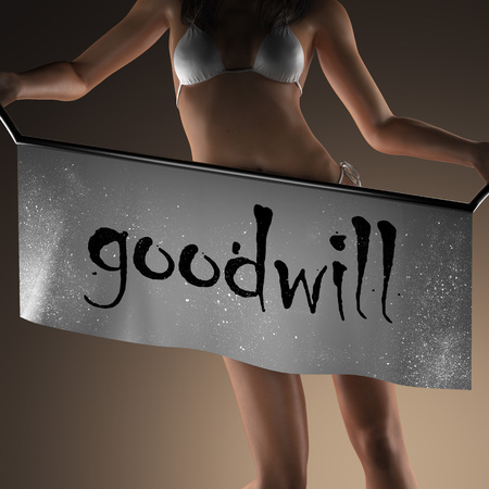 goodwill: goodwill word on banner and bikiny woman