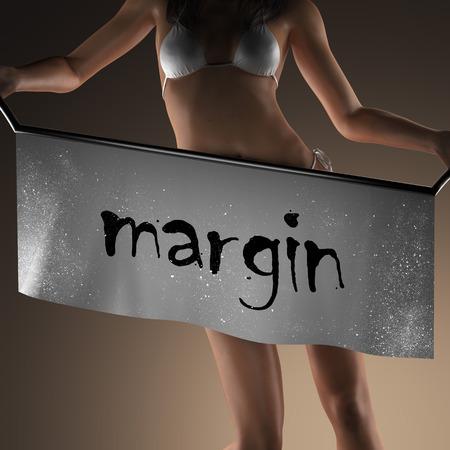 margine: margin word on banner and bikiny woman