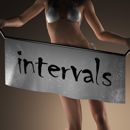 intervals: intervals word on banner and bikiny woman
