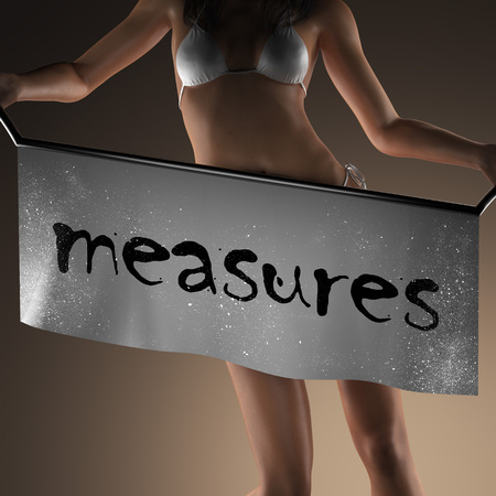 measures: measures word on banner and bikiny woman