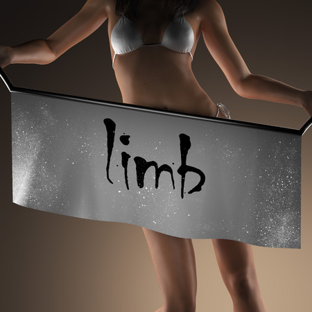 limb: limb word on banner and bikiny woman