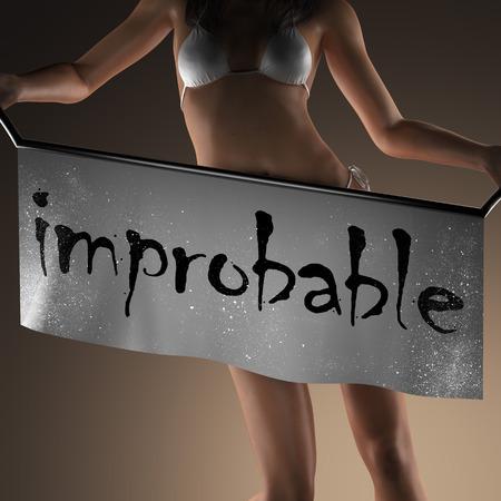 improbable word on banner and bikiny woman
