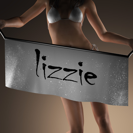 lizzie: lizzie word on banner and bikiny woman