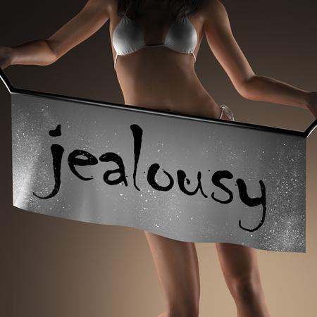 celos: palabra celos en banner y mujer bikiny