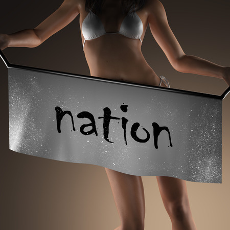 nation: nation word on banner and bikiny woman