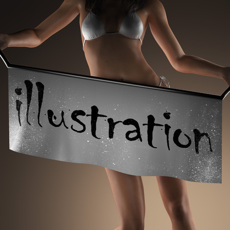 busty: illustration word on banner and bikiny woman Stock Photo