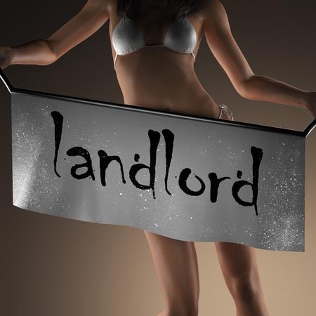 landlord: landlord word on banner and bikiny woman