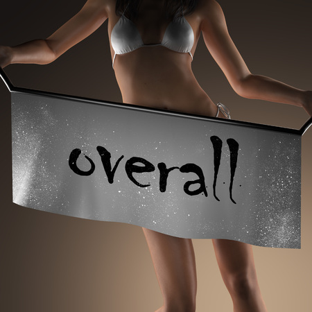 overall: overall word on banner and bikiny woman