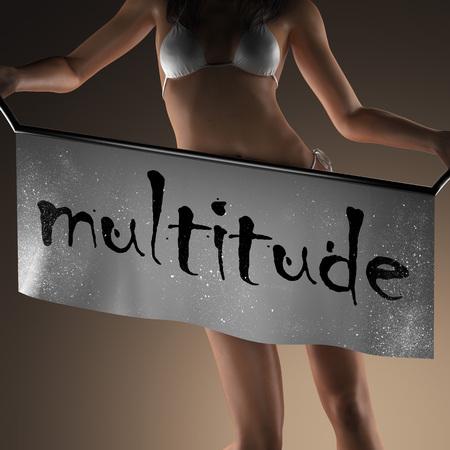 multitude: multitude word on banner and bikiny woman