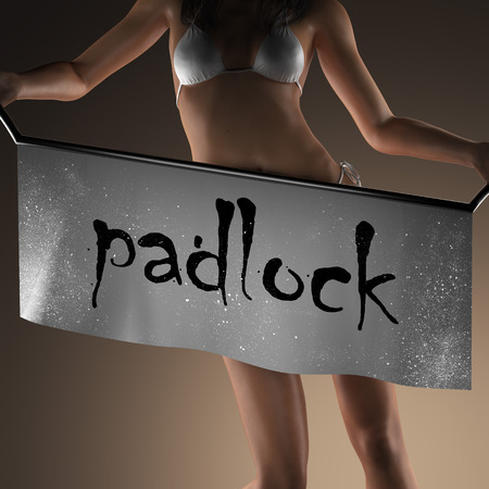 curvaceous: padlock word on banner and bikiny woman