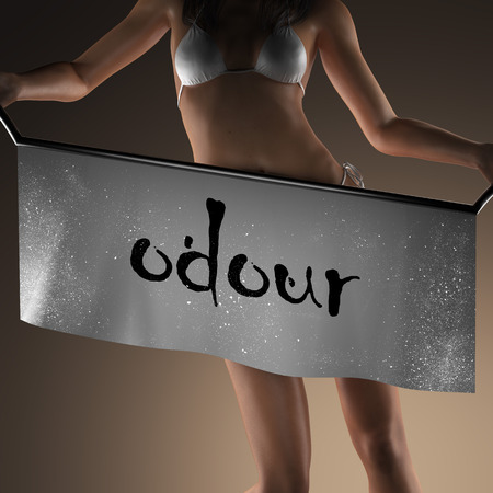 odour: odour word on banner and bikiny woman