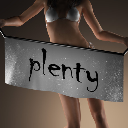 plenty: plenty word on banner and bikiny woman