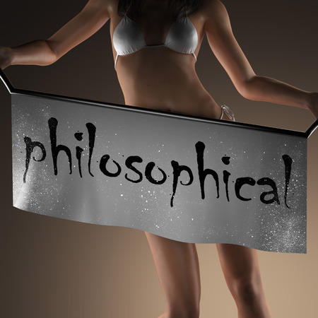 philosophical: philosophical word on banner and bikiny woman