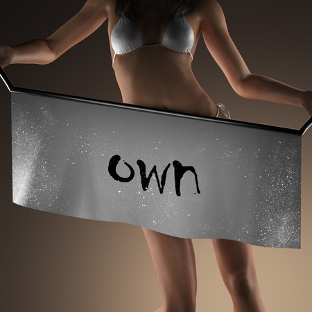 own: own word on banner and bikiny woman Stock Photo