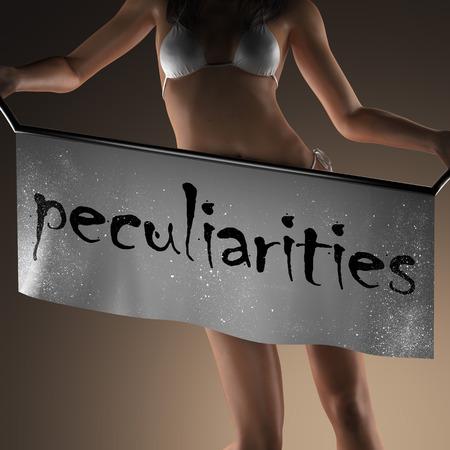 peculiarities: peculiarities word on banner and bikiny woman