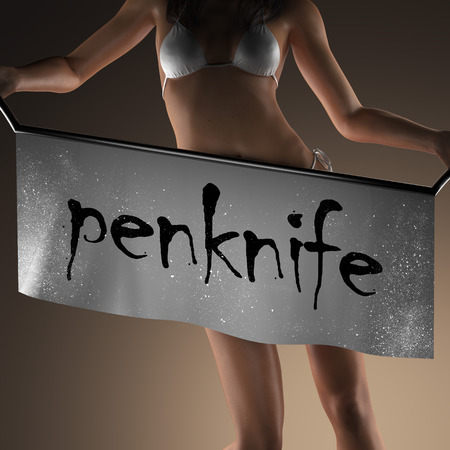 penknife: penknife word on banner and bikiny woman