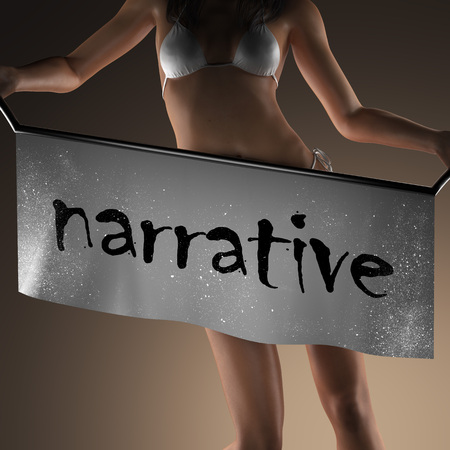 narrative: narrative word on banner and bikiny woman Stock Photo
