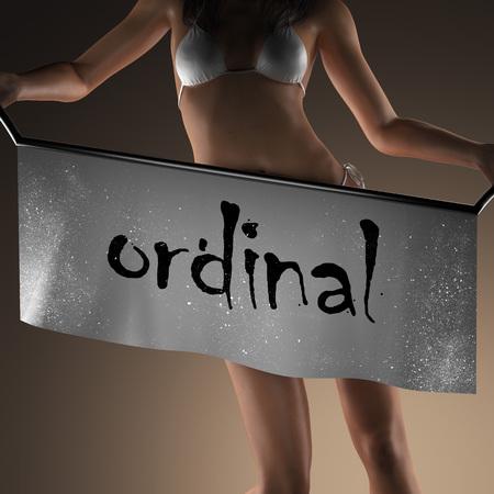 ordinal: ordinal word on banner and bikiny woman