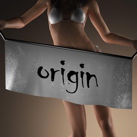 origin: origin word on banner and bikiny woman Stock Photo