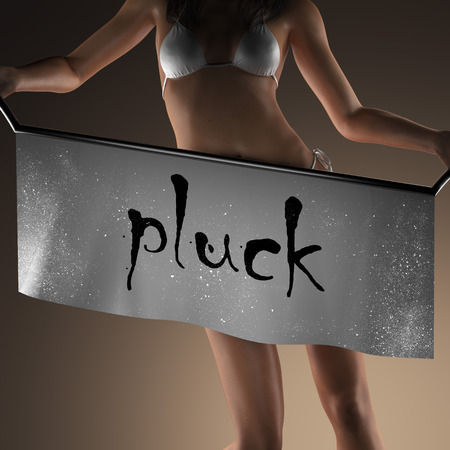pluck: pluck word on banner and bikiny woman