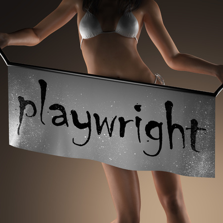 playwright: playwright word on banner and bikiny woman