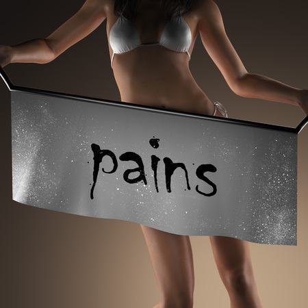 pains: pains word on banner and bikiny woman