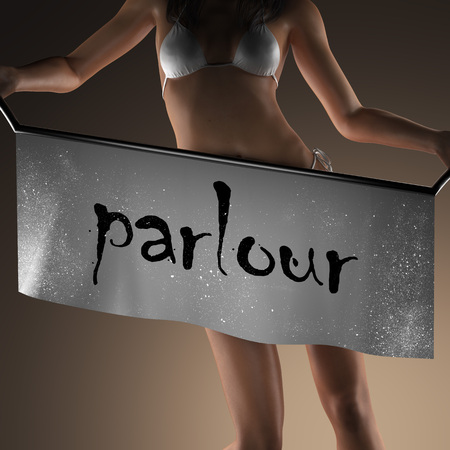 parlour: parlour word on banner and bikiny woman