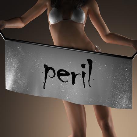 peril: peril word on banner and bikiny woman Stock Photo