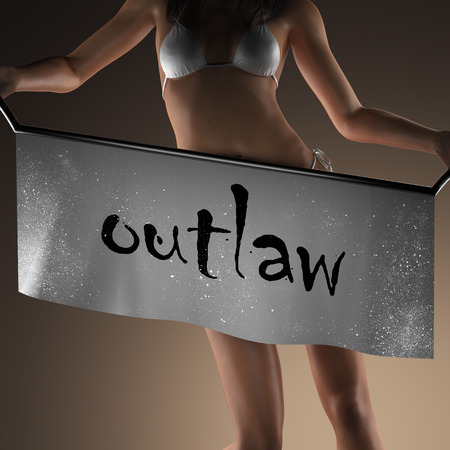 outlaw: outlaw word on banner and bikiny woman