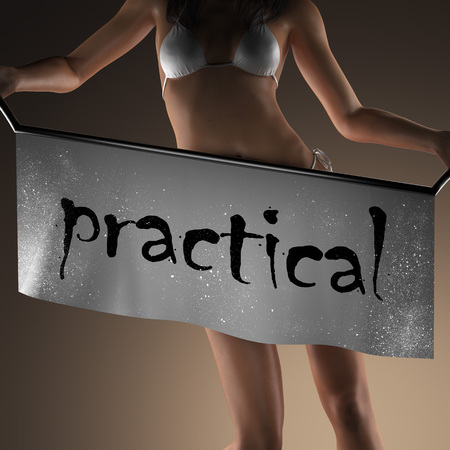 practical: practical word on banner and bikiny woman