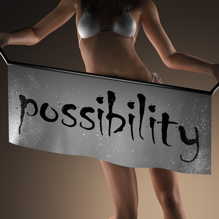 curvaceous: possibility word on banner and bikiny woman