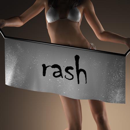 rash: palabra erupci�n en la bandera y la mujer bikiny