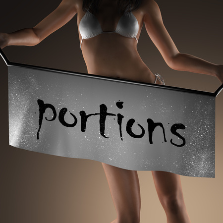 portions: portions word on banner and bikiny woman