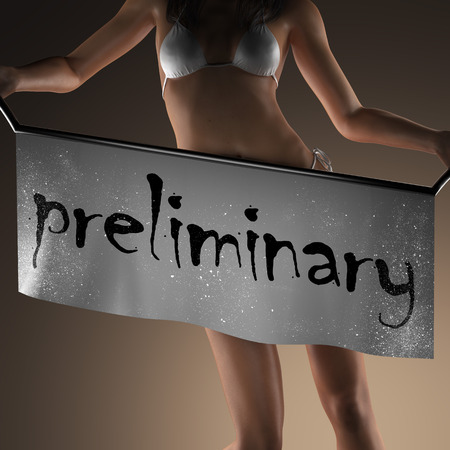 preliminary: preliminary word on banner and bikiny woman Stock Photo