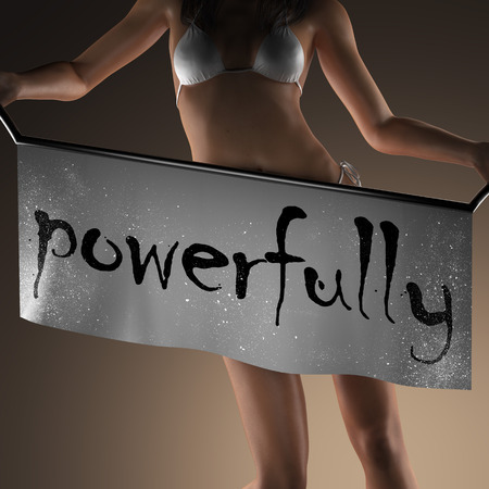 powerfully: powerfully word on banner and bikiny woman