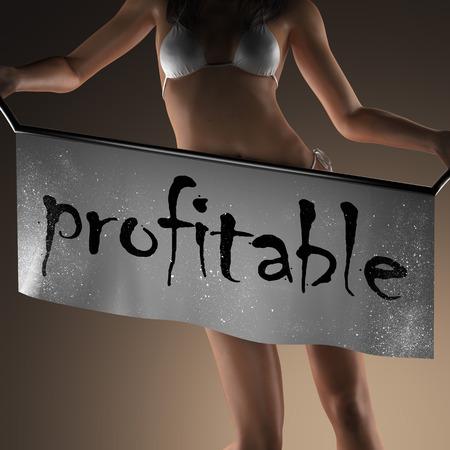 rentable: profitable word on banner and bikiny woman Foto de archivo