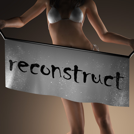 reconstruct: reconstruct word on banner and bikiny woman