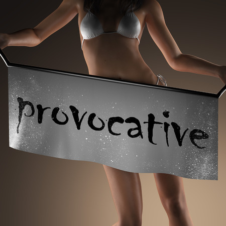 provocative woman: provocative word on banner and bikiny woman