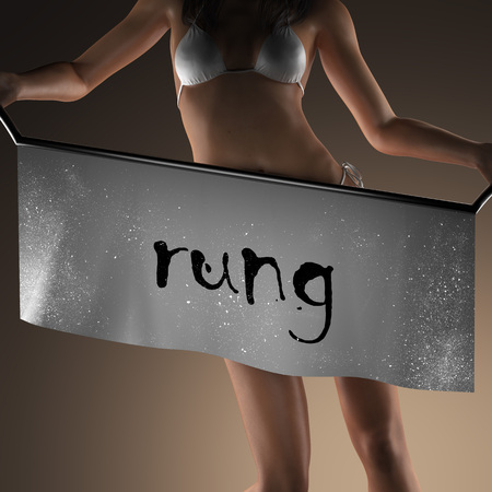 rung: rung word on banner and bikiny woman