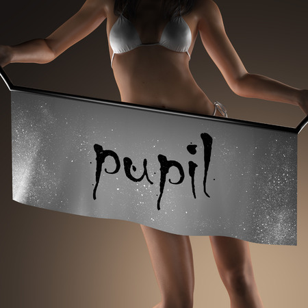 pupil: pupil word on banner and bikiny woman
