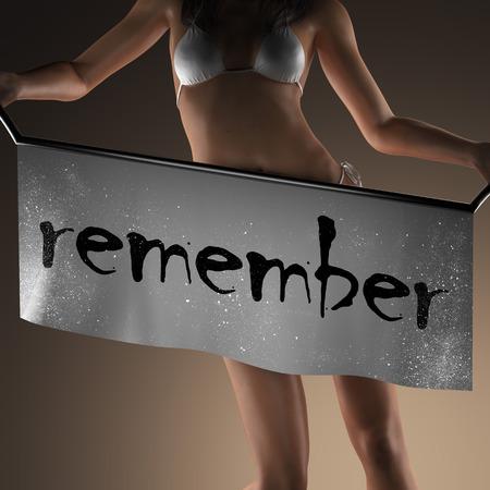 recordar: recordar la palabra en banner y mujer bikiny