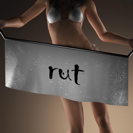 rut: rut word on banner and bikiny woman