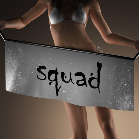 escuadra: squad word on banner and bikiny woman