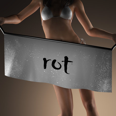 rot: rot word on banner and bikiny woman